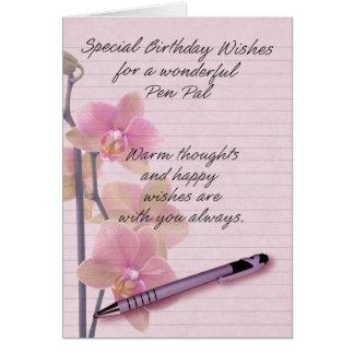 Cartão de aniversário do correspondente com papel