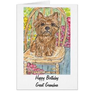 Cartão de aniversário do gran da avó de Terrier de