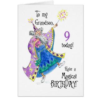 Cartão de aniversário do mágico 9o para o neto