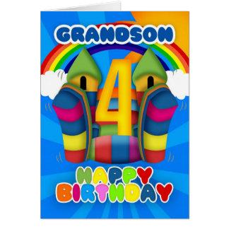 Cartão de aniversário do neto 4o com castelo