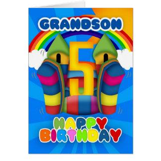 Cartão de aniversário do neto 5o com castelo