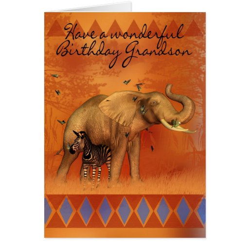 Cartão de aniversário do neto com borboleta do ele