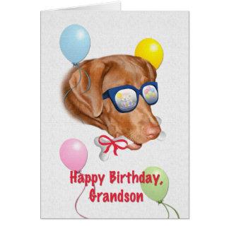 Cartão de aniversário do neto com cão de Labrador
