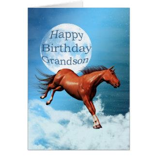 Cartão de aniversário do neto com cavalo do espíri