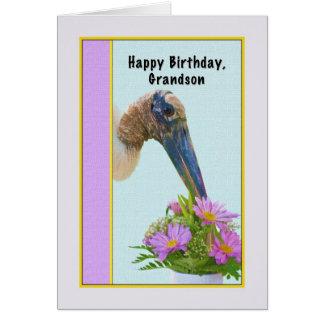 Cartão de aniversário do neto com cegonha de madei
