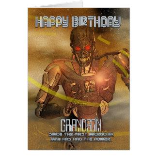 Cartão de aniversário do neto com Cyborg - robô mo