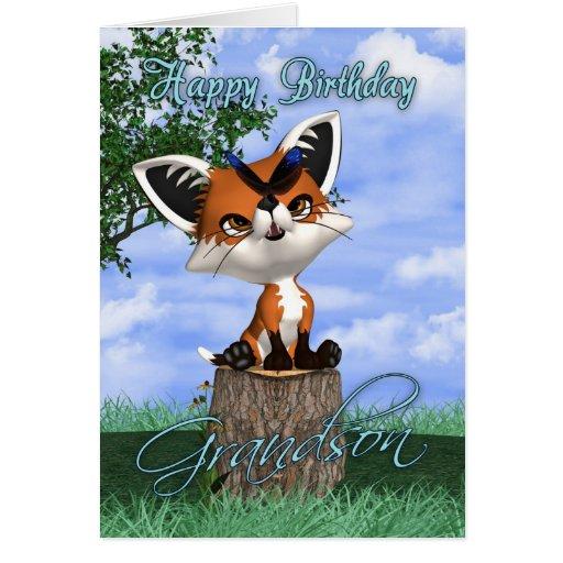 Cartão de aniversário do neto com Fox bonito e bor