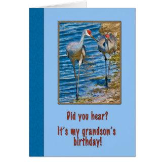 Cartão de aniversário do neto com guindastes de