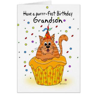 cartão de aniversário do neto com o gato do