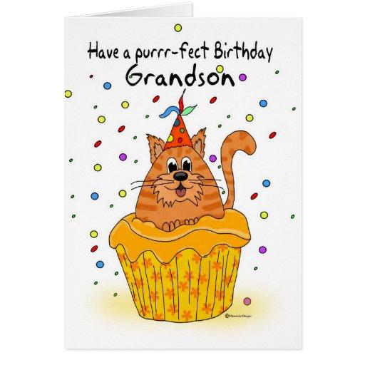 cartão de aniversário do neto com o gato do cupcak