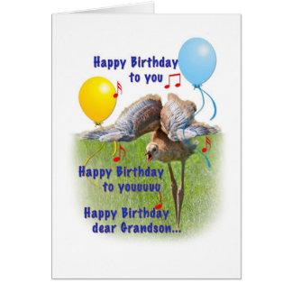 Cartão de aniversário do neto com o pássaro do gui