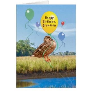 Cartão de aniversário do neto com pato e balões