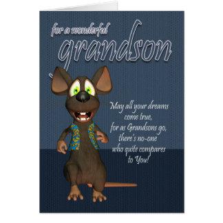 Cartão de aniversário do neto - com rato Funky