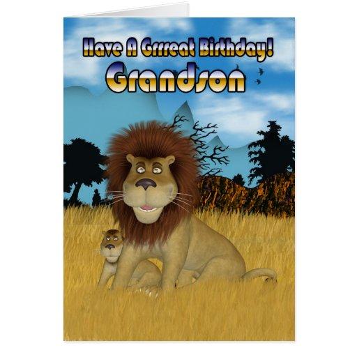 Cartão de aniversário do neto - leão e Cub