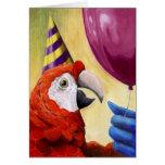 Cartão de aniversário do papagaio do partido