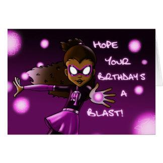 Cartão de aniversário do super-herói da menina