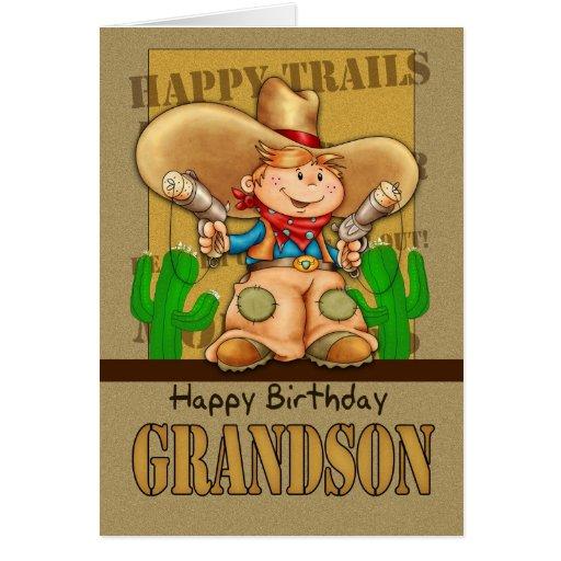 Cartão de aniversário do vaqueiro do neto - Bi de