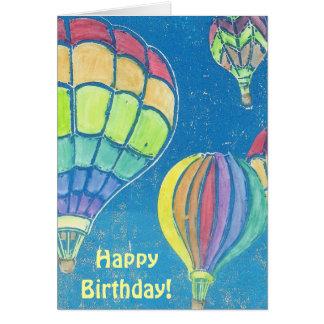 Cartão de aniversário dos balões de ar quente
