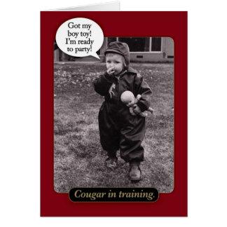Cartão de aniversário engraçado do puma dos anos