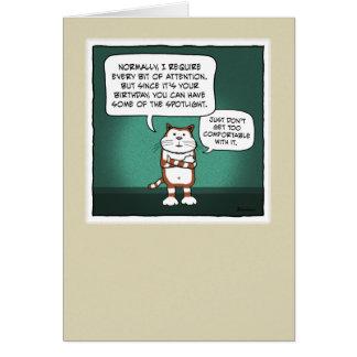 Cartão de aniversário engraçado: Projector do gato