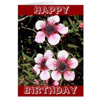 Cartão de aniversário exótico das flores