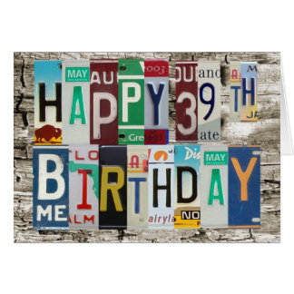 Cartão de aniversário feliz das matrículas 39th
