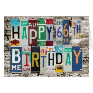 Cartão de aniversário feliz das matrículas 66th