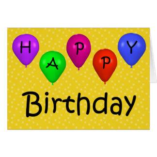 Cartão de aniversário feliz dos balões