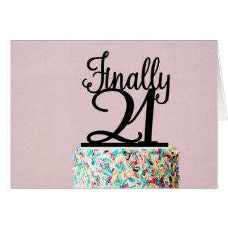 Cartão de aniversário finalmente 21