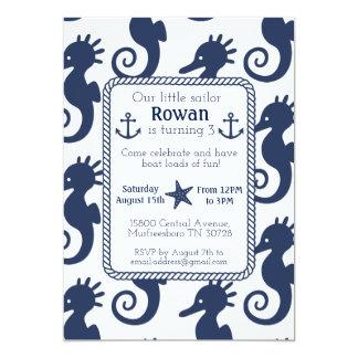 Cartão de aniversário náutico do cavalo marinho