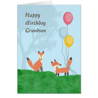 Cartão de aniversário para o neto com raposas