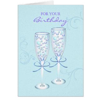 Cartão de aniversário romântico dos vidros