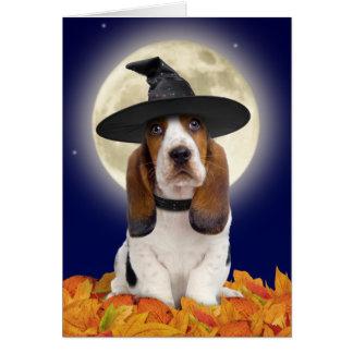 Cartão de Basset Hound o Dia das Bruxas