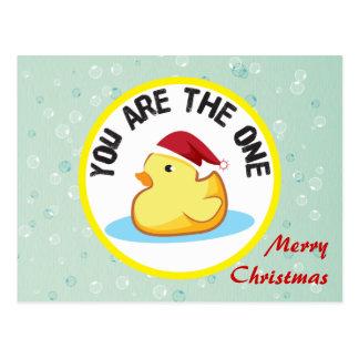 Cartão de borracha amarelo do duckie do Feliz Nata Cartões Postais
