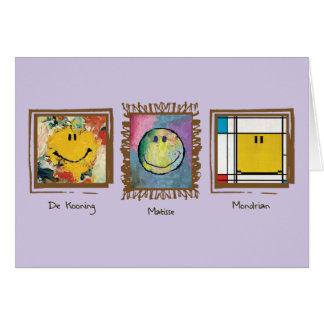 cartão de cara feliz dos grandes artistas