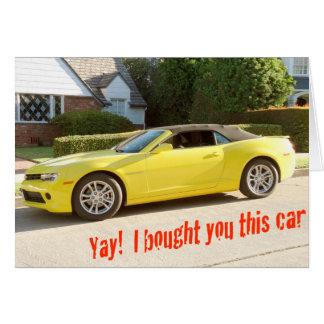 Cartão de CARRO amarelo de CHEVY Camaro