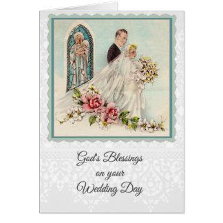 Cartão de casamento 0025 católico w/scripture &