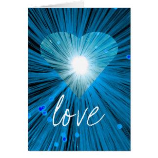 """Cartão de cumprimentos azul do """"amor"""" do coração"""