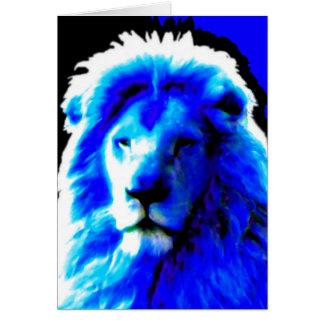 Cartão de cumprimentos azul principal do leão