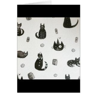 Cartão de cumprimentos do gato preto