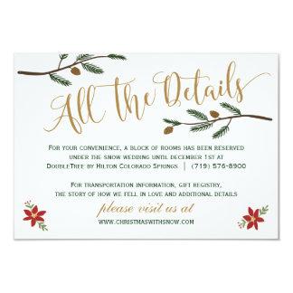 Cartão de detalhe festivo do casamento do Natal do Convite 8.89 X 12.7cm