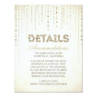 Cartão de detalhes do casamento do olhar do brilho convite 10.79 x 13.97cm
