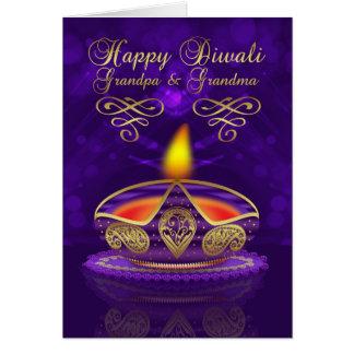 Cartão de Diwali das avós com lâmpada de Diwali