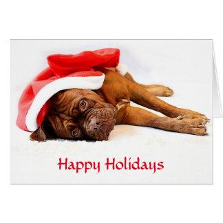 Cartão de Dogue de Bordéus boas festas