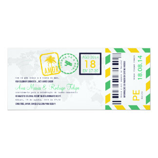 Cartão de Embarque Bilhete Passagem Aérea Convite 10.16 X 23.49cm