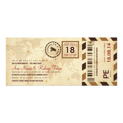 Cartão de Embarque Bilhete Passagem Aérea Convite Personalizado