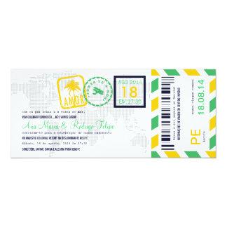 """Cartão de Embarque Bilhete Passagem Aérea Convite 10.16"""" X 23.49cm"""