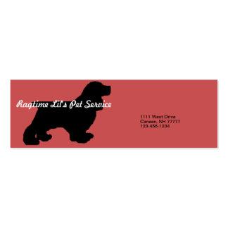 Cartão de empresa de serviços do animal de cartão de visita skinny