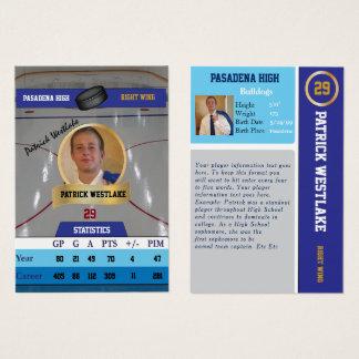 Cartão de esportes de troca do hóquei azul com
