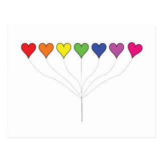 Cartão de flutuação dos corações do balão cartão postal